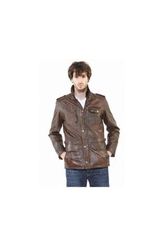 Men Brown Leather Coat